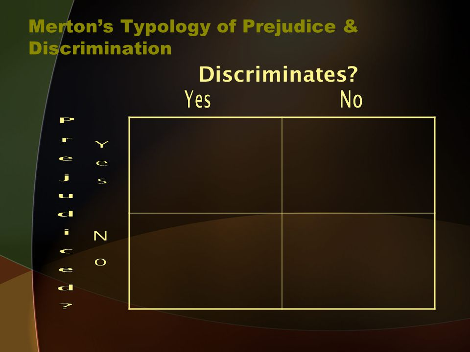 Merton's Typology of Prejudice & Discrimination Discriminates