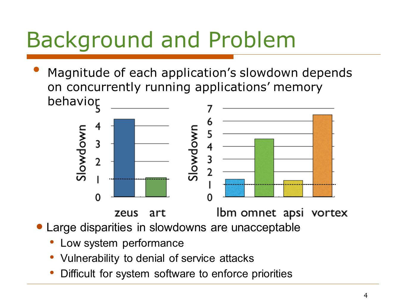 4 Magnitude of each application's slowdown depends on concurrently running applications' memory behavior Large disparities in slowdowns are unacceptable Low system performance Vulnerability to denial of service attacks Difficult for system software to enforce priorities 4 Background and Problem
