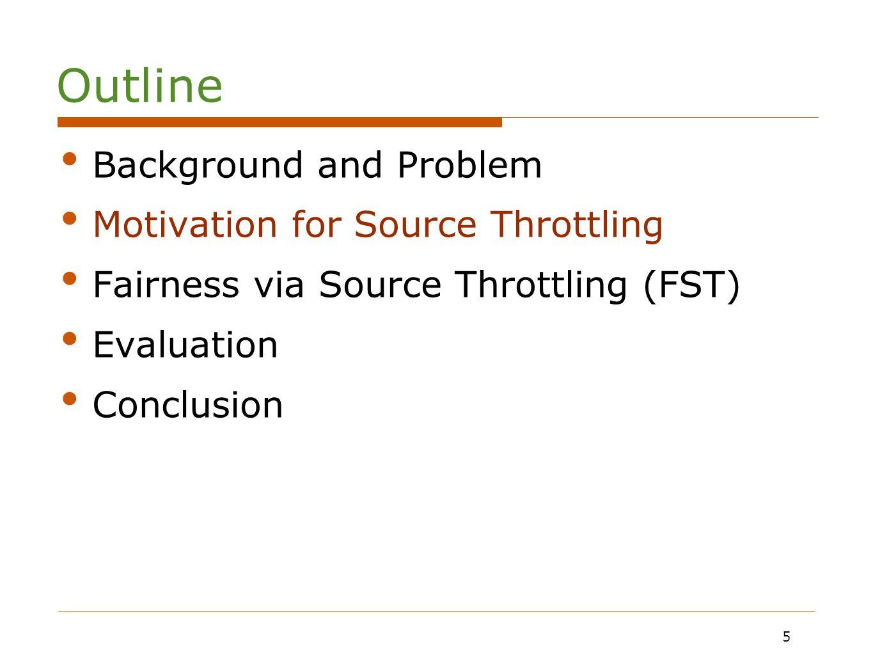 5 Motivation for Source Throttling Fairness via Source Throttling (FST) Evaluation Conclusion 5 Outline