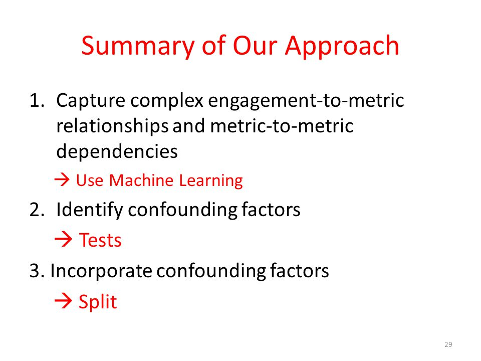 Summary of Our Approach 1.Capture complex engagement-to-metric relationships and metric-to-metric dependencies  Use Machine Learning 2.Identify confounding factors  Tests 3.