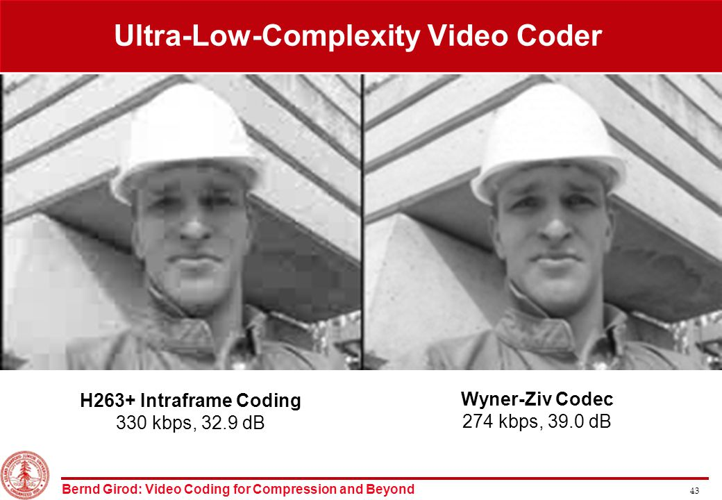 Bernd Girod: Video Coding for Compression and Beyond 43 H263+ Intraframe Coding 330 kbps, 32.9 dB Wyner-Ziv Codec 274 kbps, 39.0 dB Ultra-Low-Complexity Video Coder