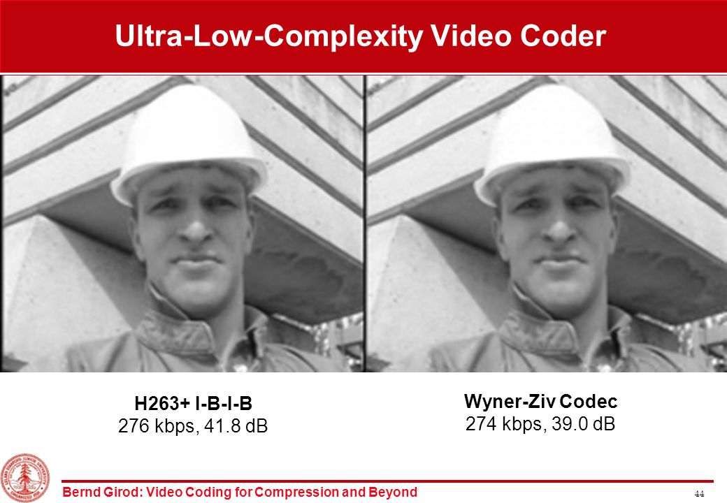 Bernd Girod: Video Coding for Compression and Beyond 44 H263+ I-B-I-B 276 kbps, 41.8 dB Wyner-Ziv Codec 274 kbps, 39.0 dB Ultra-Low-Complexity Video Coder