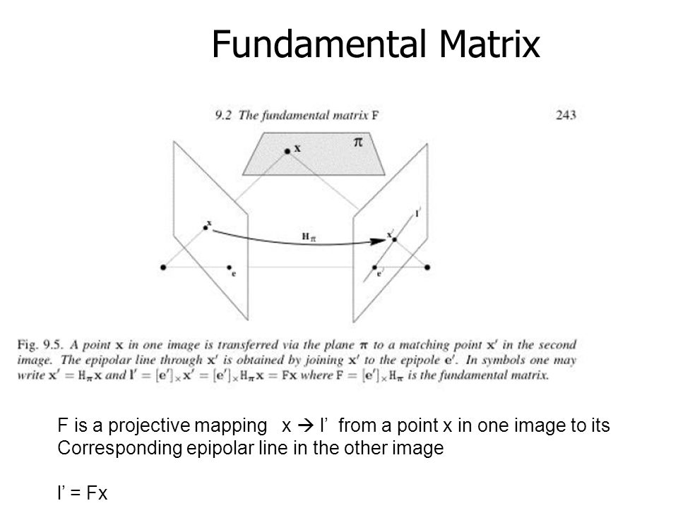 Fundamental Matrix F is a projective mapping x  l' from a point x in one image to its Corresponding epipolar line in the other image l' = Fx