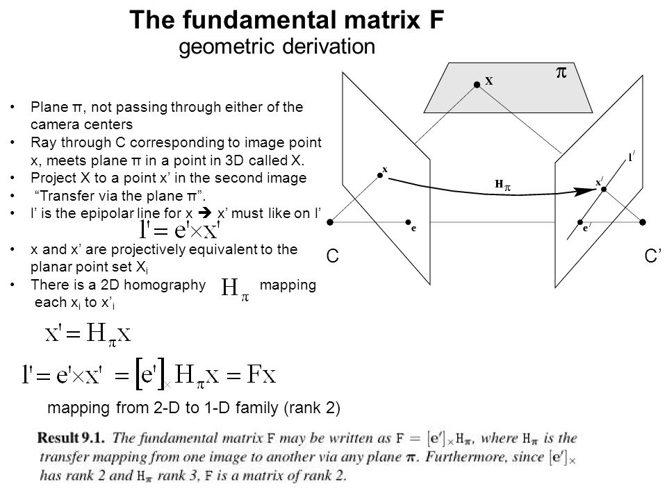 The fundamental matrix F geometric derivation mapping from 2-D to 1-D family (rank 2) Plane π, not passing through either of the camera centers Ray th