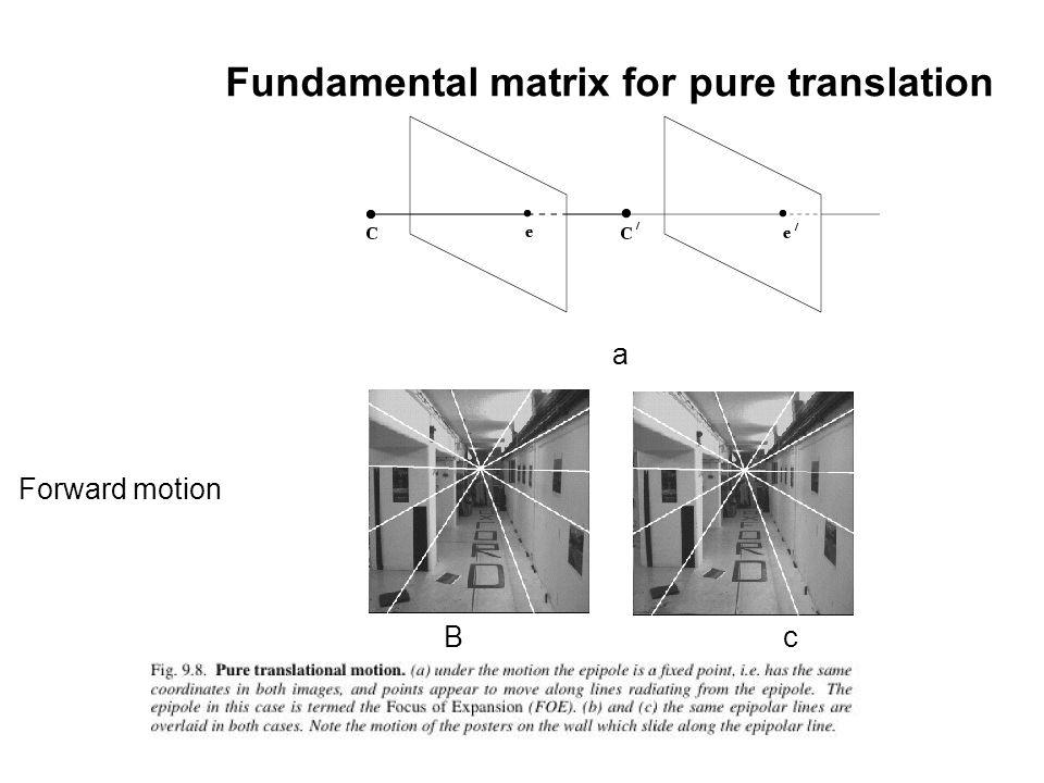 Fundamental matrix for pure translation Forward motion a B c
