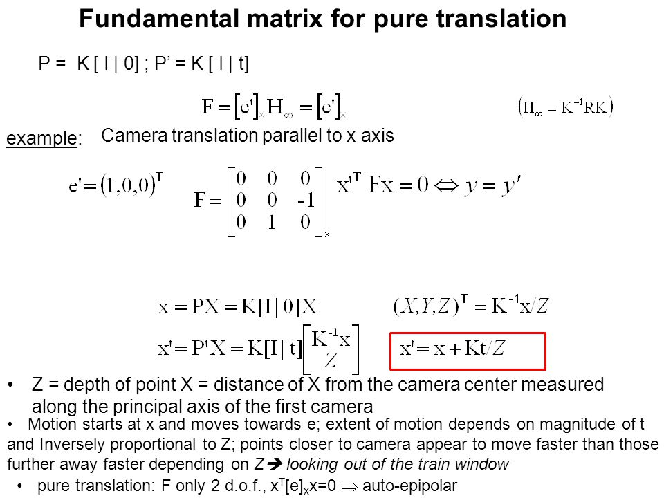 Fundamental matrix for pure translation example: Motion starts at x and moves towards e; extent of motion depends on magnitude of t and Inversely prop