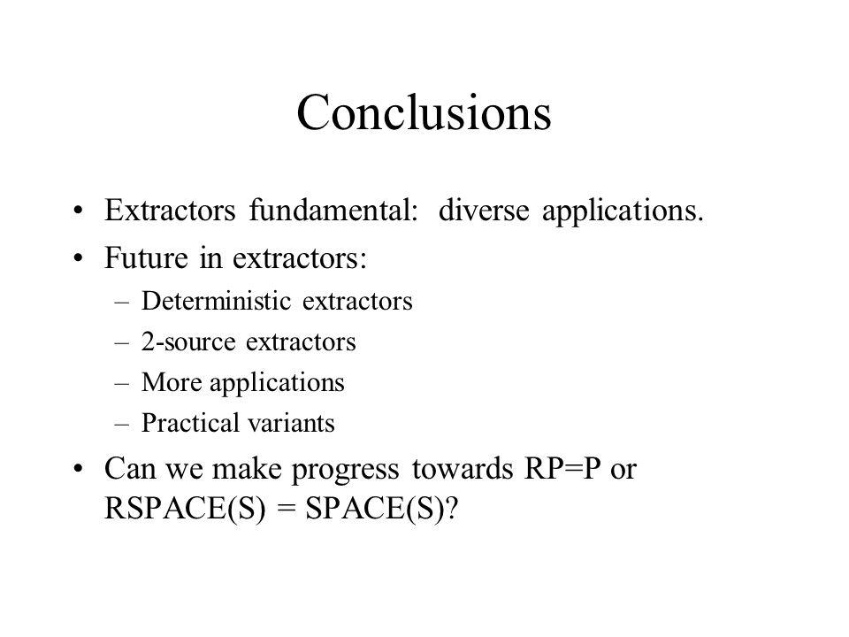 Conclusions Extractors fundamental: diverse applications.