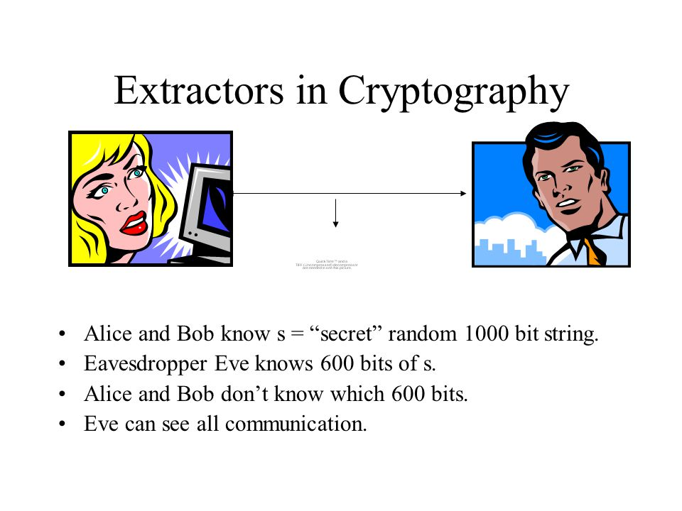 Extractors in Cryptography Alice and Bob know s = secret random 1000 bit string.