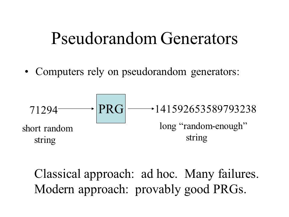 Quality: von Neumann's model Ext very long weakly random long random Bits independent.