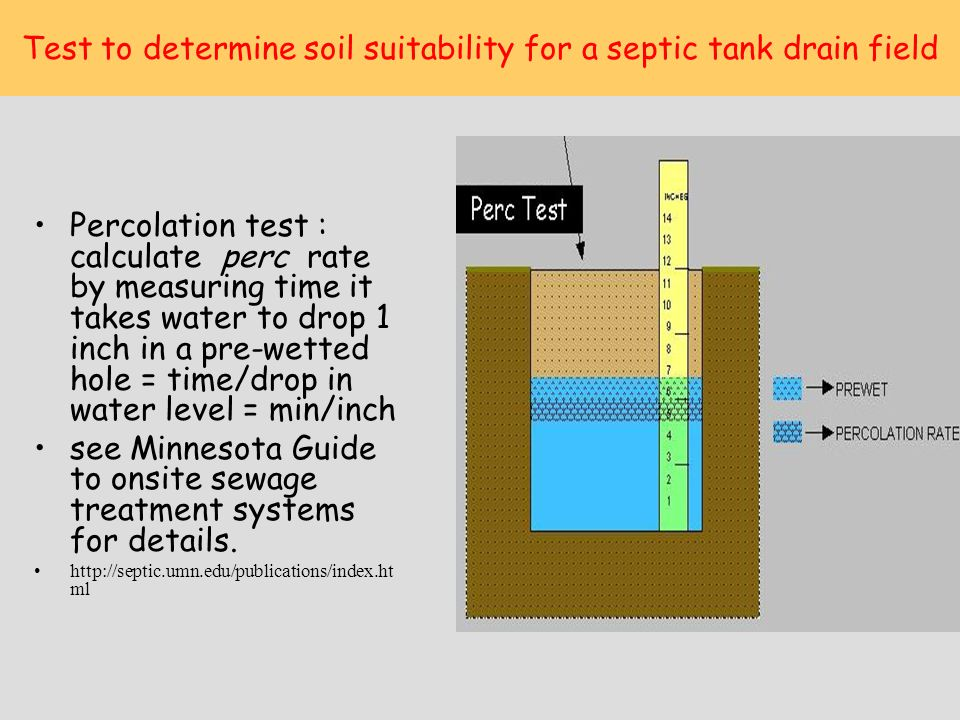 Test to determine soil suitability for a septic tank drain field Percolation test : calculate perc rate by measuring time it takes water to drop 1 inc