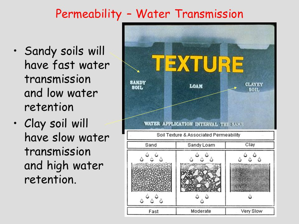 Permeability – Water Transmission Sandy soils will have fast water transmission and low water retention Clay soil will have slow water transmission an