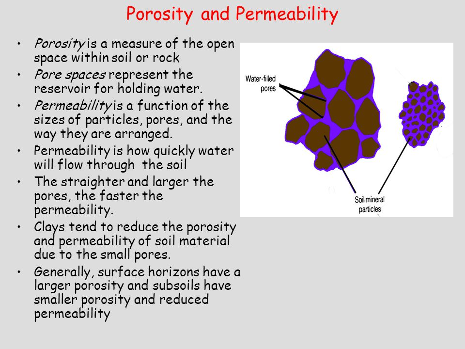 Porosity and Permeability Porosity is a measure of the open space within soil or rock Pore spaces represent the reservoir for holding water.