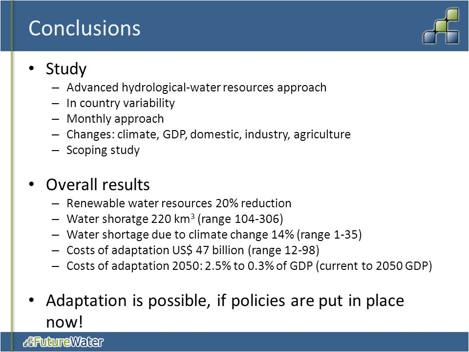 Conclusions Study – Advanced hydrological-water resources approach – In country variability – Monthly approach – Changes: climate, GDP, domestic, indu
