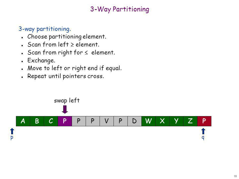 11 3-Way Partitioning 3-way partitioning. n Choose partitioning element. n Scan from left  element. n Scan from right for  element. n Exchange. n Mo