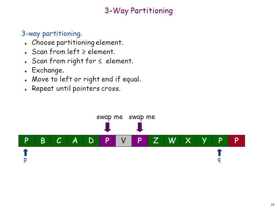 18 3-Way Partitioning 3-way partitioning. n Choose partitioning element. n Scan from left  element. n Scan from right for  element. n Exchange. n Mo