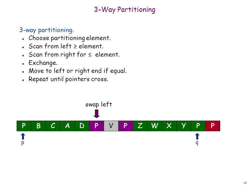 19 3-Way Partitioning 3-way partitioning. n Choose partitioning element. n Scan from left  element. n Scan from right for  element. n Exchange. n Mo