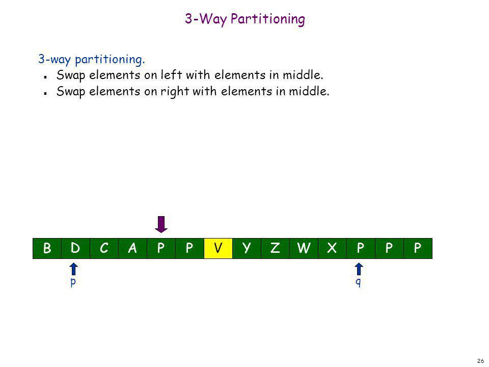 26 3-Way Partitioning 3-way partitioning. n Swap elements on left with elements in middle. n Swap elements on right with elements in middle. BDCAPPYZW