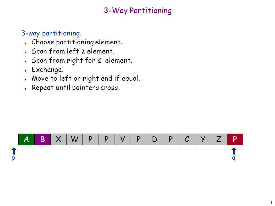 14 3-Way Partitioning 3-way partitioning.n Choose partitioning element.