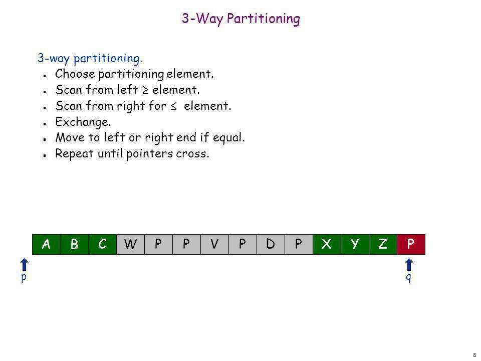 8 3-Way Partitioning 3-way partitioning. n Choose partitioning element. n Scan from left  element. n Scan from right for  element. n Exchange. n Mov