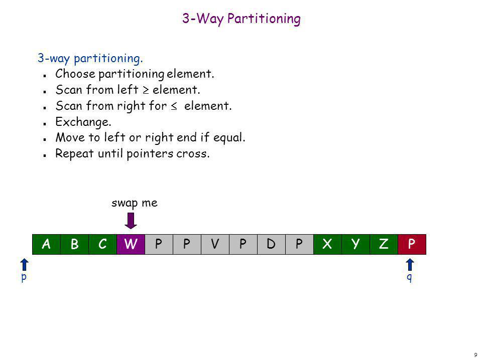 20 3-Way Partitioning 3-way partitioning.n Choose partitioning element.