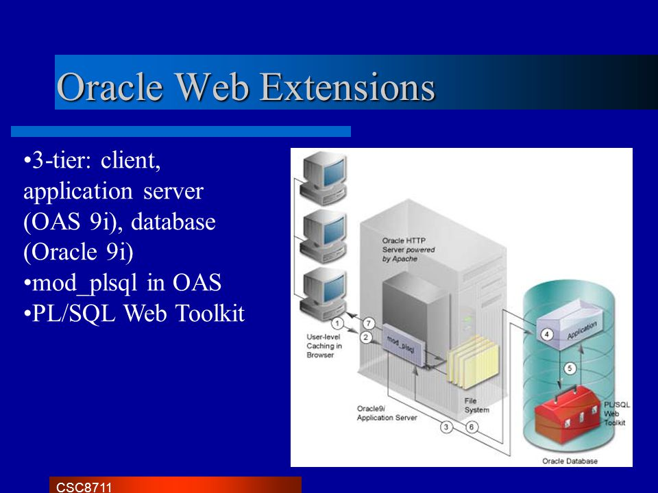 CSC8711 Oracle Web Extensions 3-tier: client, application server (OAS 9i), database (Oracle 9i) mod_plsql in OAS PL/SQL Web Toolkit