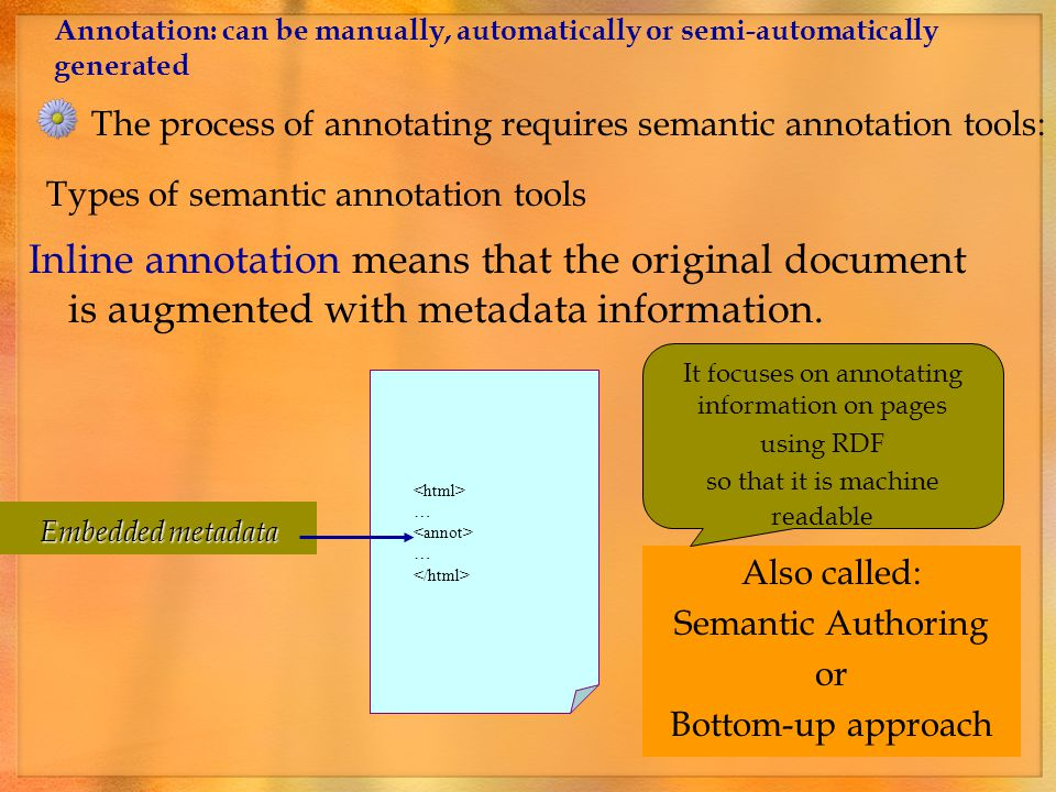 It is generally preferable from the point of view of inter-operability Types of semantic annotation tools: Standoff annotation means that the metadata is stored separately from the original document.