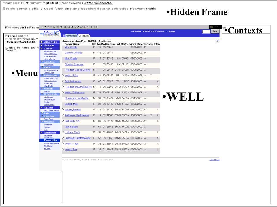 FRAME PIC Hidden Frame Contexts WELL Menu