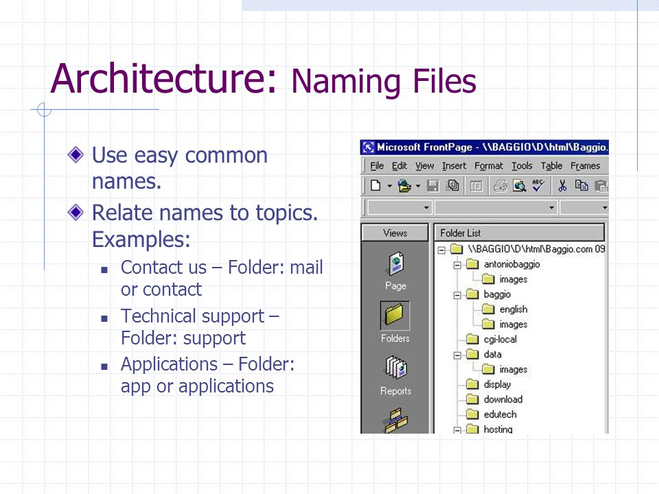 Architecture: Naming Files Use easy common names. Relate names to topics. Examples: Contact us – Folder: mail or contact Technical support – Folder: s