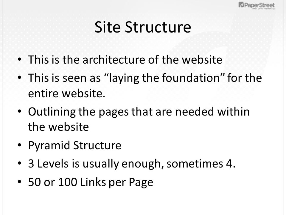 Site Structure This is the architecture of the website This is seen as laying the foundation for the entire website.