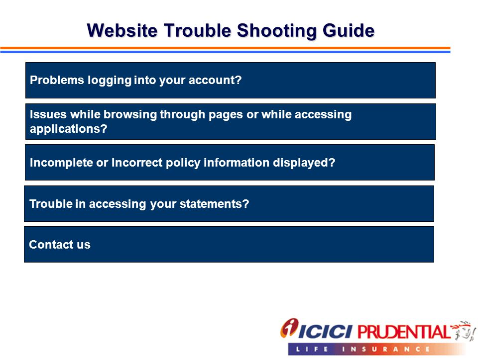 Website Trouble Shooting Guide Problems logging into your account? Issues while browsing through pages or while accessing applications? Incomplete or