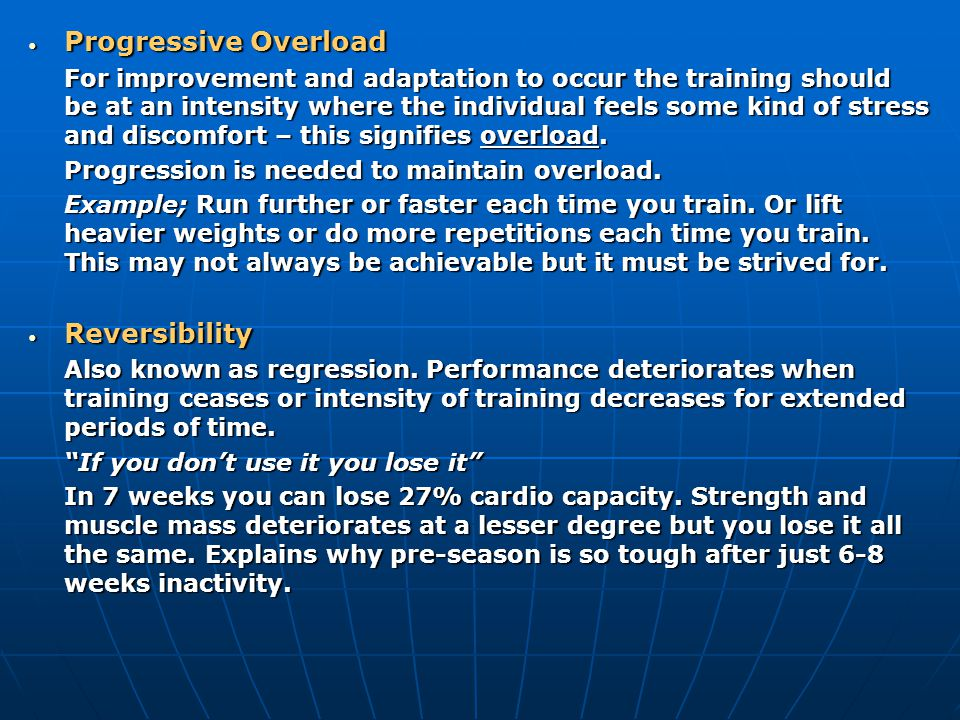 Moderation Moderation To prevent overtraining it is essential that the training programme is planned sufficiently well to include a variation in training intensities and to include regular rest days.