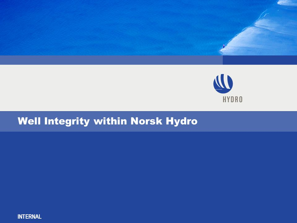 INTERNAL Well Integrity within Norsk Hydro