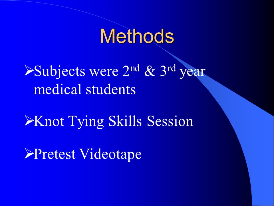 Methods  Subjects were 2 nd & 3 rd year medical students  Knot Tying Skills Session  Pretest Videotape