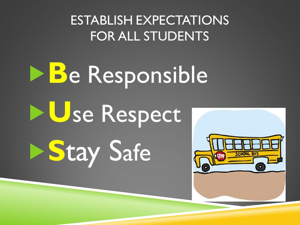 ESTABLISH EXPECTATIONS FOR ALL STUDENTS  B e Responsible  U se Respect  Stay S afe