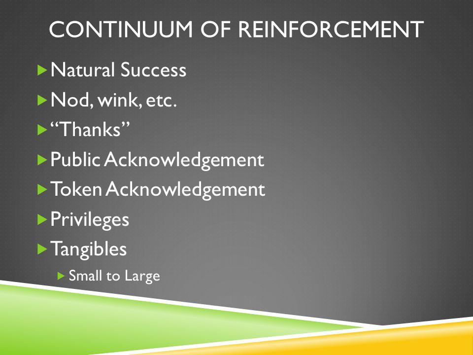 CONTINUUM OF REINFORCEMENT  Natural Success  Nod, wink, etc.