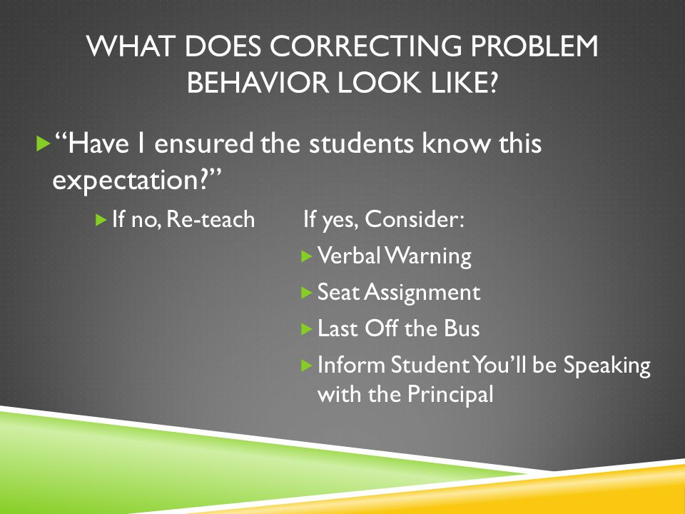 WHAT DOES CORRECTING PROBLEM BEHAVIOR LOOK LIKE.
