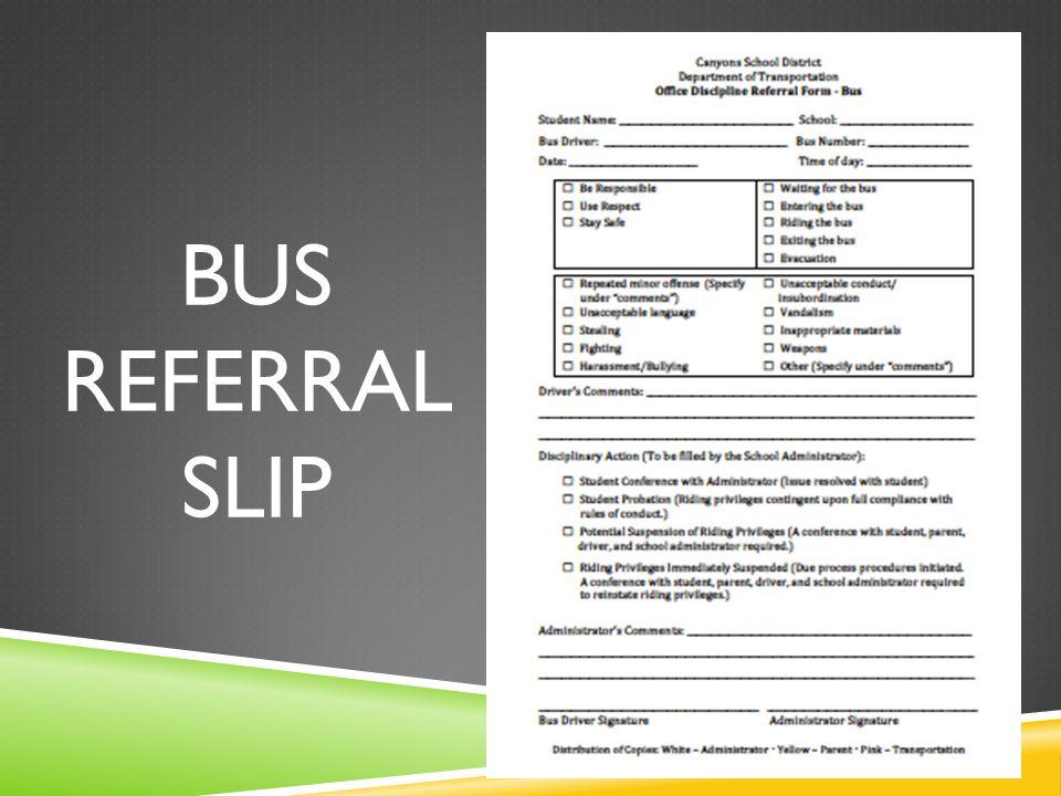 BUS REFERRAL SLIP