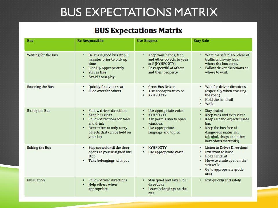 BUS EXPECTATIONS MATRIX