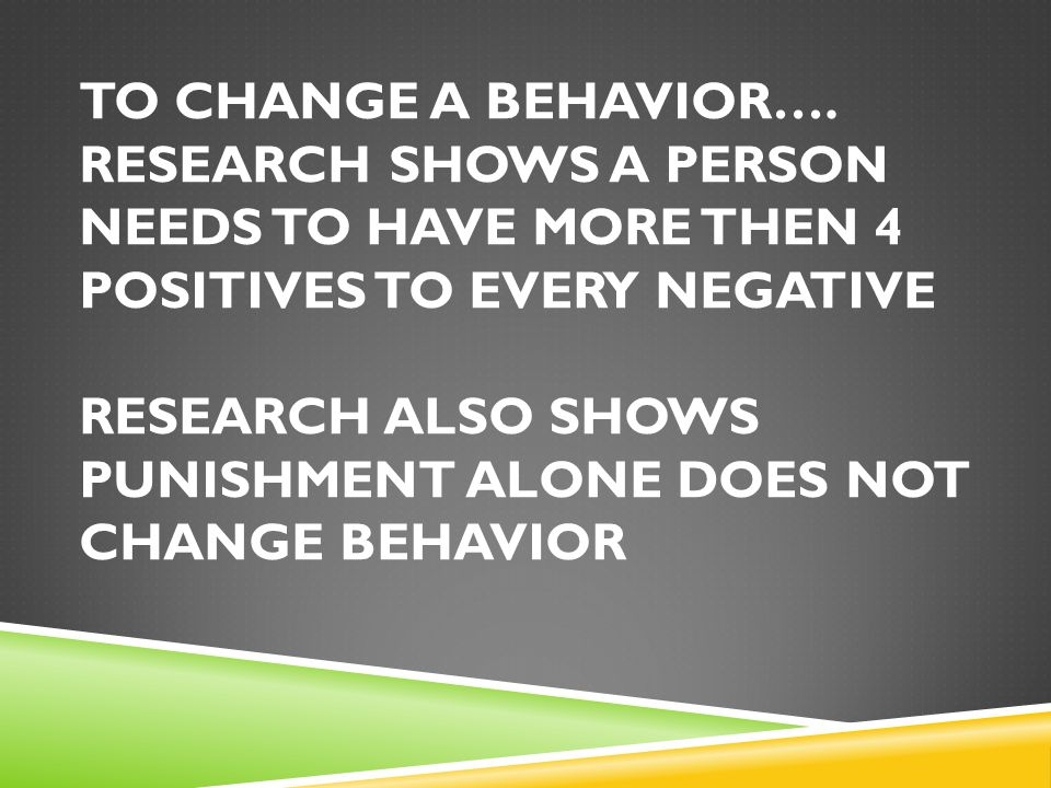 TO CHANGE A BEHAVIOR….