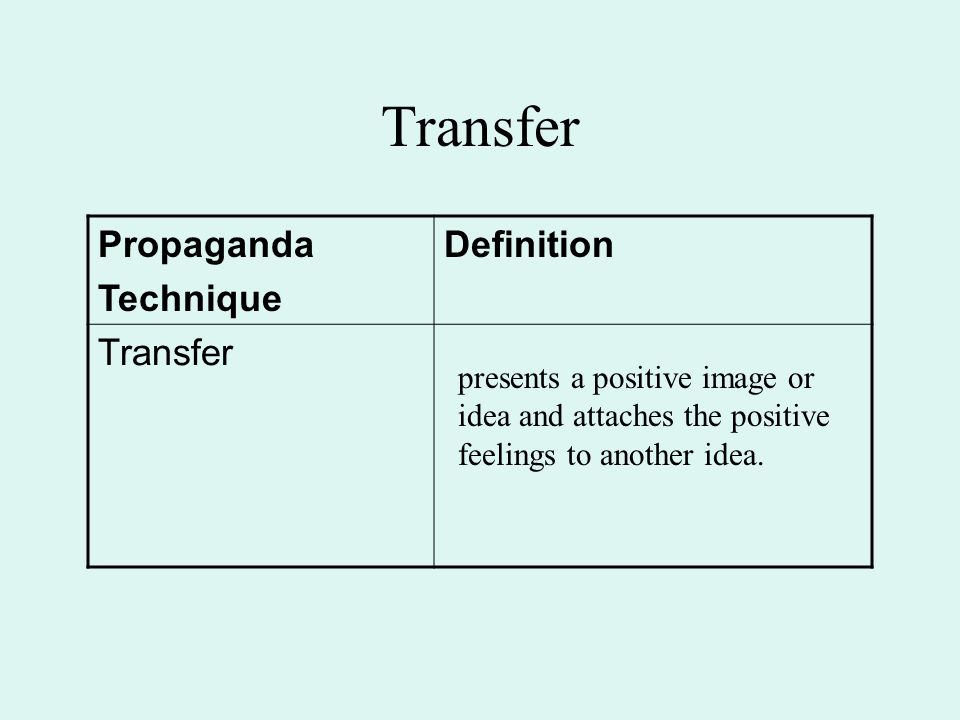 Transfer presents a positive image or idea and attaches the positive feelings to another idea. Propaganda Technique Definition Transfer
