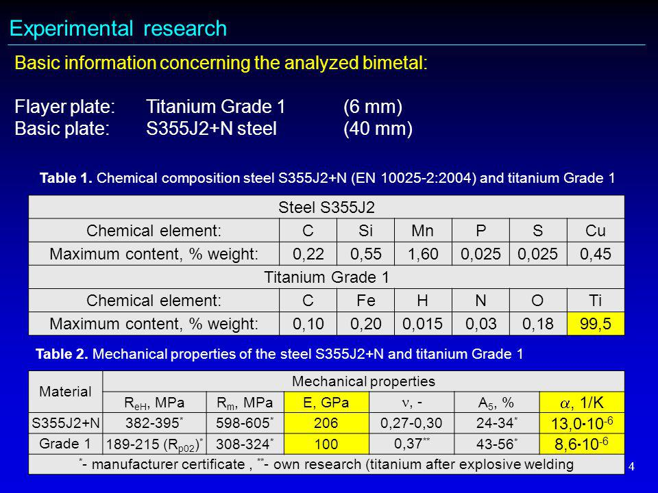 4 Experimental research Basic information concerning the analyzed bimetal: Flayer plate: Titanium Grade 1 (6 mm) Basic plate: S355J2+N steel(40 mm) Steel S355J2 Chemical element:CSiMnPSCu Maximum content, % weight:0,220,551,600,025 0,45 Titanium Grade 1 Chemical element:CFeHNOTi Maximum content, % weight:0,100,200,0150,030,1899,5 Table 1.