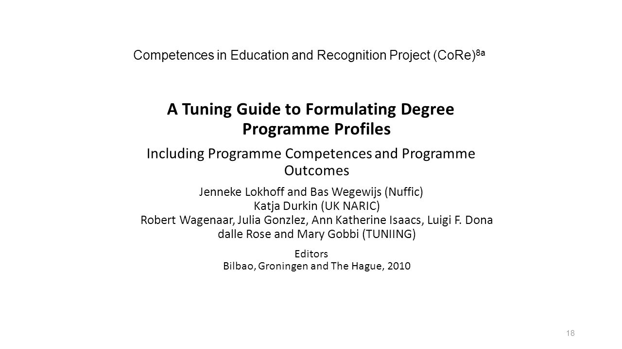 Competences in Education and Recognition Project (CoRe) 8a A Tuning Guide to Formulating Degree Programme Profiles Including Programme Competences and