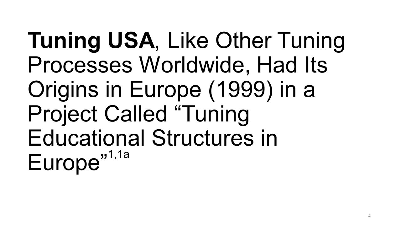 The Tuning Project in Europe, Unlike Tuning USA and Tuning in Other Regions of the World, was Initiated (September 1999) Almost Simultaneously, and in Parallel, Within the Strong Supportive Environments of the Two Major European Reform Initiatives: Bologna Process (June 1999) and the Lisbon Agenda (March 2000) 2,3 These Two European Reform Initiatives Contain Philosophical, Educational, and Societal Elements that Strongly Influenced those Driving Similar Goals for Tuning USA 5