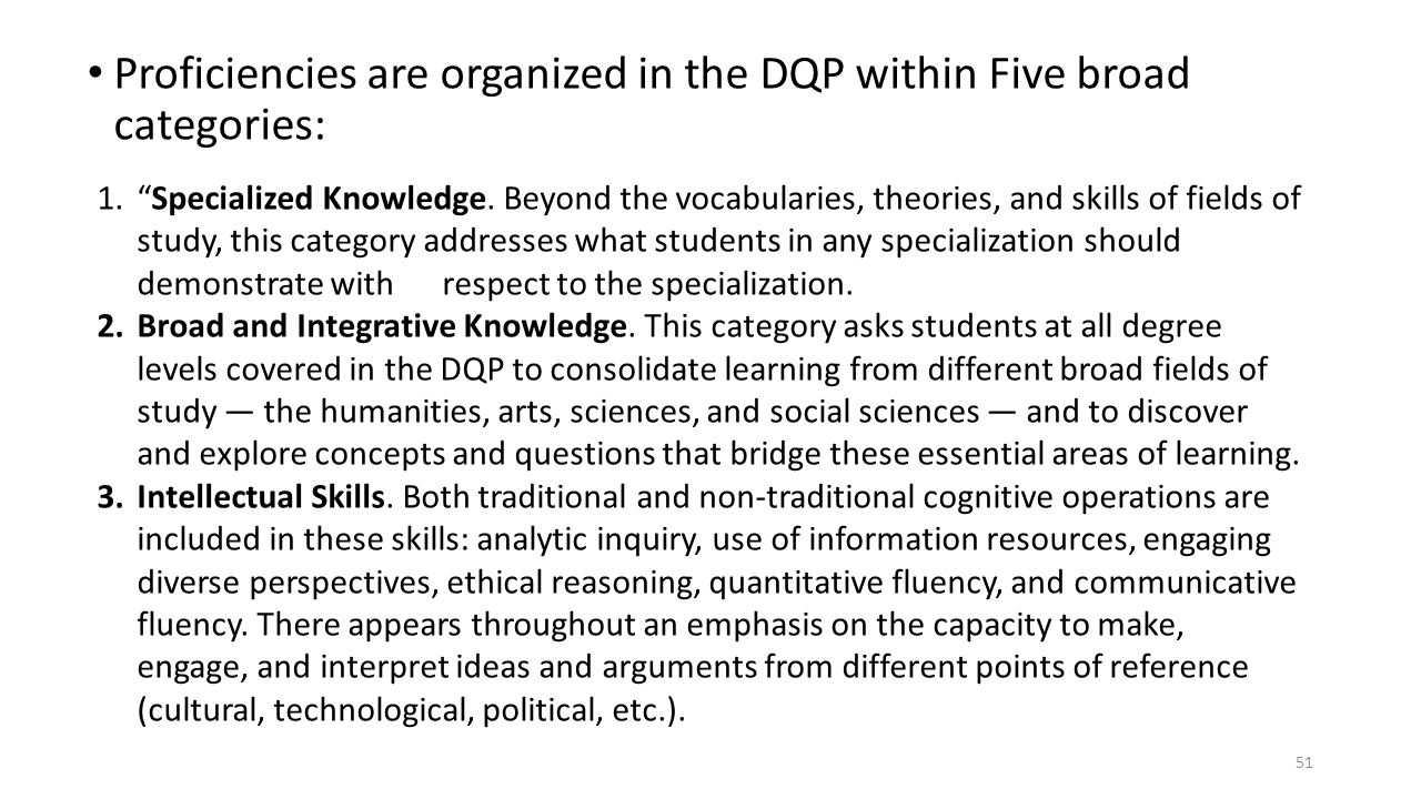 "Proficiencies are organized in the DQP within Five broad categories: 51 1.""Specialized Knowledge. Beyond the vocabularies, theories, and skills of fie"