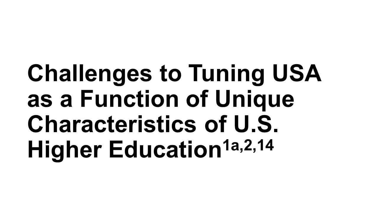 Challenges to Tuning USA as a Function of Unique Characteristics of U.S. Higher Education 1a,2,14