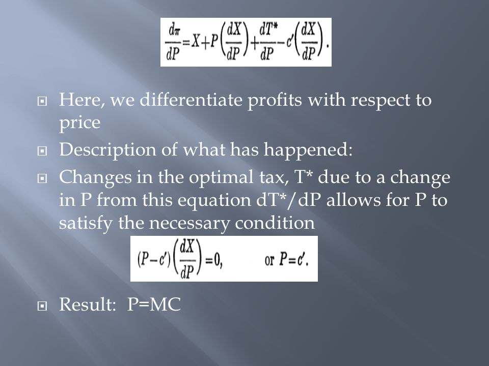  Here, we differentiate profits with respect to price  Description of what has happened:  Changes in the optimal tax, T* due to a change in P from