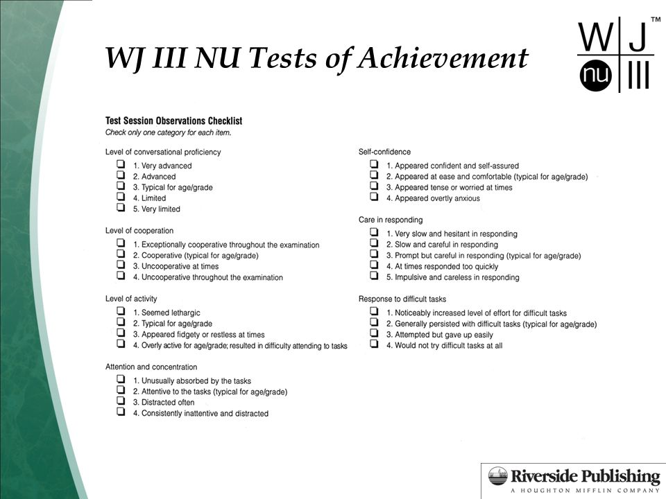 WJ III NU Tests of Achievement Test 10: Applied Problems Test by complete pages until the student correctly answers the six lowest-numbered items administered, or until you have administered the page with Item 1.