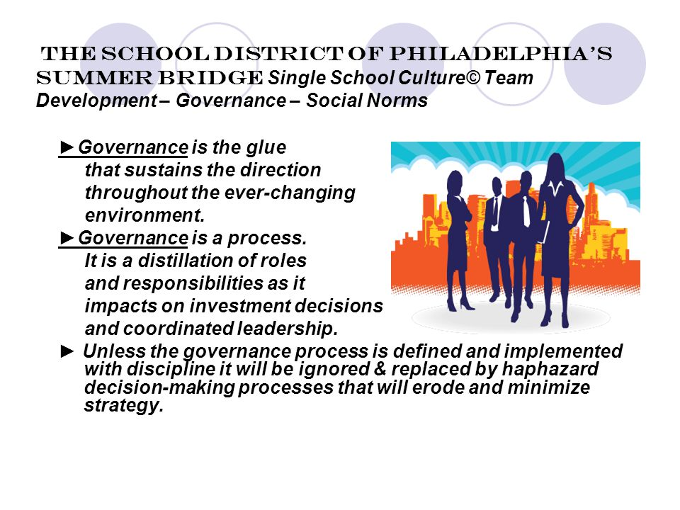 The School District of Philadelphia's Summer Bridge Single School Culture© Team Development – Governance – Social Norms ►Governance is the glue that sustains the direction throughout the ever-changing environment.