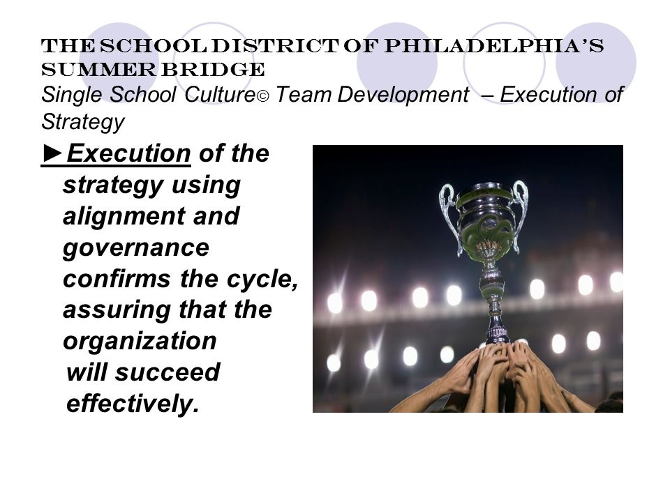The School District of Philadelphia's Summer Bridge Single School Culture © Team Development – Execution of Strategy ►Execution of the strategy using alignment and governance confirms the cycle, assuring that the organization will succeed effectively.