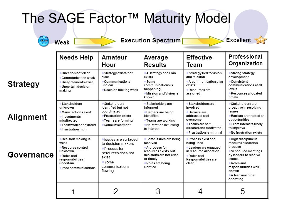 The SAGE Factor™ Maturity Model Needs HelpAmateur Hour Average Results Effective Team Professional Organization Direction not clear Communication weak Disagreements exist Uncertain decision making Strategy exists/not clear Communications unclear Decision making weak A strategy and Plan exists Some communications is happening Mission and Vision is known Strategy tied to vision and mission A communication plan exists Resources are assigned Strong strategy development Consistent communications at all levels Resources allocated timely Stakeholders unknown Many factions exist Investments misdirected Teamwork nonexistent Frustration high Stakeholders identified but not coordinated Frustration exists Teams are forming Some investment Stakeholders are informed Barriers are being identified Teams are working Frustration is turning to interest Stakeholders are involved Barriers are addressed and overcome Teams are self directed and motivated Frustration is minimal Stakeholders are proactive in resolving issues Barriers are treated as opportunities Team interacts freely to improve No frustration exists Decision making is weak Resource control unknown Roles and responsibilities uncertain Poor communications Issues are surfaced to decision makers Process for resources does not exist Some communications flowing Some issues are being resolved A process for resources exists but decisions are not crisp or timely Roles are being clarified Process exist and being used Leaders are engaged in resource allocation Roles and Responsibilities are clear High discipline in resource allocation process Scheduled meetings by leaders to resolve issues Roles and responsibilities well known A lean machine operating 1 2 3 4 5 Strategy Alignment Governance Weak Execution Spectrum Excellent